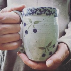 Handmade stoneware mug for everyday use, dishwasher safe Stoneware Mugs, Blueberry, Dishwasher, Pine, Coffee Mugs, Pottery, Tableware, Handmade, Instagram