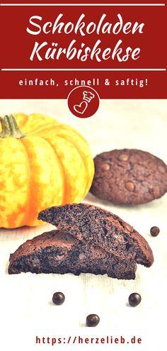 Plätzchen Rezepte, Kürbis Rezepte: Kürbis Kekse Rezept von herzelieb mit viel Schokolade. Diese Schokoladenplätzchen sind besonders saftig, ungewöhnlich und einfach zu backen. Ich finde, man kann nie genug Kürbis Rezepte haben! Kekse Rezepte backt man nicht nur zu Weihnachten! Für Schokoladen Fans und Kürbis Liebhaber. Die besten Kekse, dich ich kenne! Chef Recipes, Quick Recipes, Muffin, Chocolate, Breakfast, Sweets, Pie, Chocolate Chip Cookies Recept, Baking Cookies