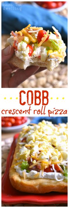 Cobb Crescent Roll Pizza - all the flavors of Cobb Salad on a buttery crescent roll crust! These pizza squares make a perfect appetizer for any get together!without the tomatoes and blue cheese Pizza Appetizers, Finger Food Appetizers, Best Appetizers, Finger Foods, Appetizer Recipes, Party Recipes, Crescent Roll Pizza, Crescent Roll Recipes, Crescent Rolls