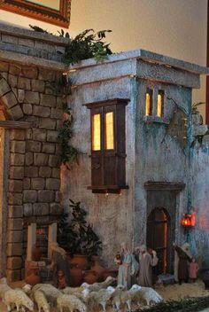 this is amazing Fontanini Nativity, Diy Nativity, Christmas Nativity Scene, Christmas Villages, Christmas In Italy, Christmas Holidays, Christmas Decorations, Stage Decorations, Christmas Program
