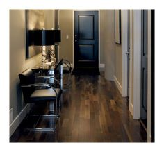 Laminate flooring in oak gives rustic appeal with less hassle. Love these colors together.