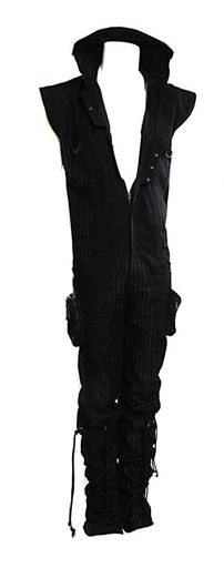 Men's Jumpsuit - Stitched pin stripe canvas, Denim, Brass Hardware - A.D. 2013