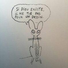 """Charlie Hebdo magazine attack, 12 killed. mercredi 7 janvier, en France, tuerie de 12 personnes dans les locaux du journal satirique """"Charlie Hebdo"""". Mort de grands dessinateurs tels que Charb, Cabu, Tignous et Wolinsky. Que l'art continue d'emmerder les fanatiques. Dessin de Joann Sfar."""