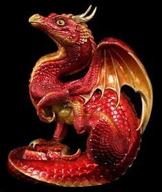 Red Fire Scratching Dragon by Windstone Editions