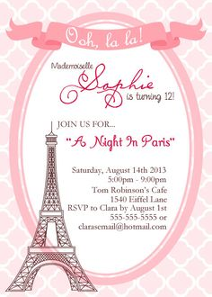 París invitación invitación de cumpleaños de Paris Paris