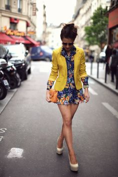 really cute combo with the jacket and dress and love the bright colors!