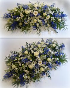 Blue & white casket spray by Houghton Regis based florist Casket Flowers, Grave Flowers, Cemetery Flowers, Funeral Flowers, Table Flowers, Funeral Caskets, Funeral Floral Arrangements, Contemporary Flower Arrangements, Funeral Sprays