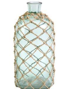 Nautical Inspired Rope Net Bottle Vase. http://caronsbeachhouse.com/cornell-medium-aqua-bottle-in-rope-netting.html