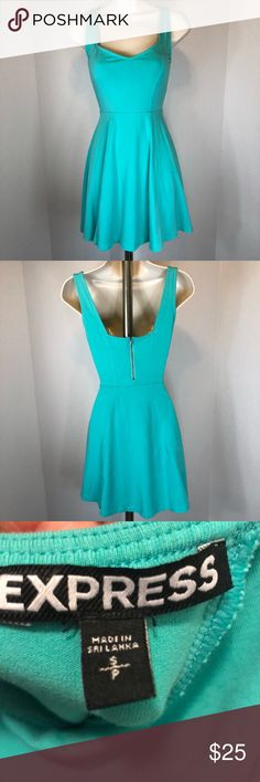 NWOT EXPRESS FITTED FLARE SUN DRESS Beautiful turquoise sun dress  zipper back Express Dresses