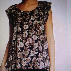 Pleione floral printed blouse NWT Pleione floral printed blouse. Crew neck, cap sleeves, pleated back. 100% polyester. NWT Pleione Tops Blouses