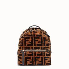 Fendi Mochila mini FF - Marrom Mini Mochila, Leather Slip Ons, Calf Leather, Brown Leather, Leather Bags, Small Backpack, Mini Backpack, Prada Bag, Prada Handbags