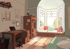 bedroom anime aesthetic background animated animation drawing pretty illustration environment weheartit