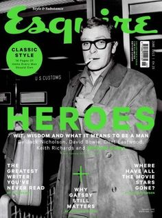 Michael Caine hailed as 'Esquire' hero Fashion Magazine Cover, Cool Magazine, Magazine Cover Design, Magazine Covers, Esquire Uk, Uk Magazines, Cover Style, Typography Layout, Editorial Layout