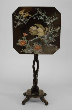 English Victorian Black Lacquer And Pearl Inlaid Decorated Papier Mache Pedestal Base Square Tilt  Top End Table