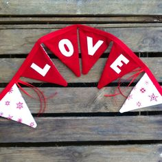 LOVE red and white traditional Christmas fabric by EmmaBuntingUK