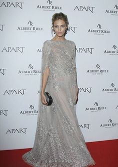 Anja Rubik's Apart Anniversary Elie Saab Couture Fall 2013 Sheer Lace Cape Gown - Fashion Bomb Blog