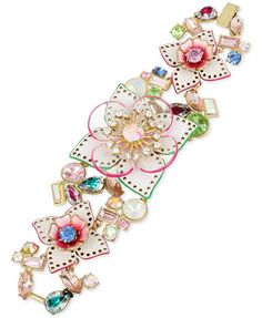 Betsey Johnson Gold-Tone Multi-Stone Floral Flex Bracelet   macys.com