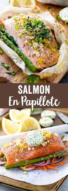 Salmon En Papillote - Fillets placed on a bed of vegetables, wrapped in a parchment paper pouch and baked in the oven. via @foodiegavin