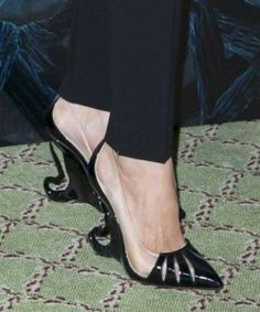 Angelina Jolie and Elle Fanning, the stars of the soon to be released movie, 'Maleficent,' wore the coolest shoes. Maleficent and a Princess.