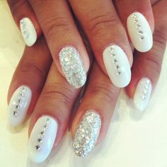 Base colour in Bio Sculpture Gel #1 - French White accented with square rhinestones and a full silver glitter party nail.