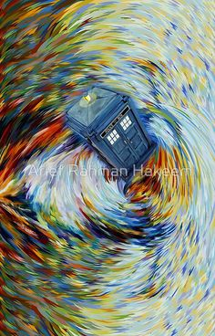 Blue Phone Booth jump into time Vortex art painting
