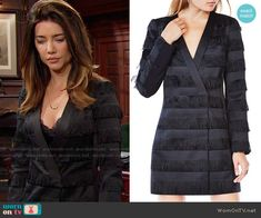 Steffy's black fringed jacket dress on The Bold and the Beautiful.  Outfit Details: https://wornontv.net/64512/ #TheBoldandtheBeautiful