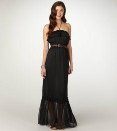 AE ruffled maxi dress. Flirty chiffon. Kinda fitted & still retains maxi silhouette.