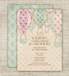 Hot Air Balloon Baby Shower Invitation Custom by CardtopiaDesigns, $13.50