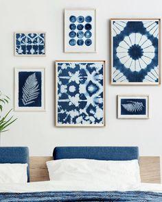 Fabric Wall Art, Diy Wall Art, Wall Art Decor, Blue Wall Decor, Hanging Fabric, Indigo Walls, Blue Walls, Indigo Bedroom, Indigo Prints