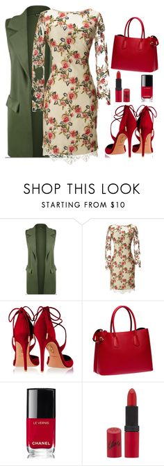 """""""Be unique!!!"""" by sanela-enter ❤ liked on Polyvore featuring WearAll, Notte by Marchesa, Aquazzura, Prada, Chanel and Rimmel"""