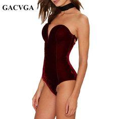 l Sexy Body Femmes V Neck Lace Up Blouse Velours Combishort Velours  Salopette feminino robe Barboteuse roupas monos E c3abe1ffee9