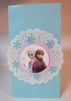 10 Disney Frozen Princess Inspired doily favor bags Anna Elsa Birthday Party