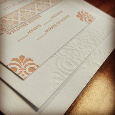 Brand new printing of our Roco design. This bride chose to use a gorgeous pale orange ink and a tint for her #letterpress invitation suite. The addition of the #digital belly band really ties the whole thing together. #invitationsuite #tint #letterpressinvites #letterpressweddinginvitations #elegantwedding #wedding #invitations #bride #weddingplanning