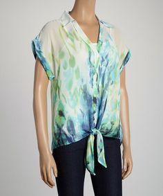 Look at this #zulilyfind! Aqua & Mint Floral Blouse #zulilyfinds