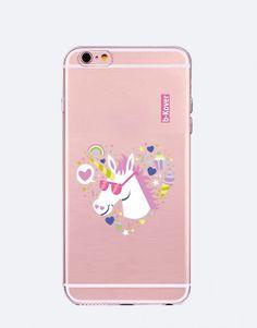funda-movil-unicornio-heart print-4 Phone Cases, Iphone, See Through, Mobile Cases, Unicorns, Hilarious