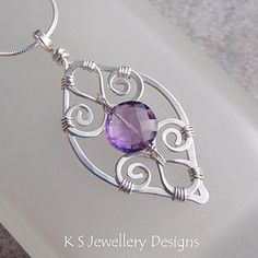 Purple Leaf - Amethyst Spiral Loop Leaf Frame Sterling Silver Pendant (KS30) (KSJewelleryDesigns) Tags: floral leaves metal silver spiral necklace beads leaf petals wire coin shiny hammered shine purple bright loop blossom handmade smooth violet wrapped jewelry jewellery lilac faceted frame metalwork handcrafted amethyst delicate sparkling tutorial forged pendant polished coiled gemstone sterlingsilver wirework wirewrapping wirewrapped rondelle silverwire brightsilver coldforged