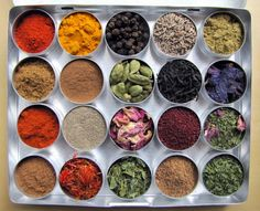 PERSIAN MakeAMeal Spice Kit  20 33mm tins by cookoutsidethebox, $24.00 chili powder, turmeric, black peppercorns, cumin seeds & powder,coriander powder, cinnamon, rose petals,blue borage,loose tea,green cardamon,cayenne,baharat,sumac,yogurt dip mix,safflower,fenugreed leaves,mint leaves,lime powder