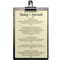 Wooden Menu Board with Bulldog Clip Light or Dark Oak 6mm Timber NEXT DAY DELIVERY! From just £4.00 www.bhma.co.uk   01353 665141 Menu Holders, Specials Today, Menu Boards, Light Oak, Flask, Quotations, Delivery, Logo, Logos