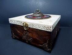 Big Hand Decorated Box Antique Jewelry Box Distressed Brown
