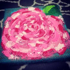 Lilly Pulitzer First Impression Single Flower 6x6 burlap canvas painting