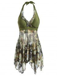 Fashionable Women's Halter Asymmetrical Figure Print One-Piece Swimsuit (ARMY GREEN,L) | Sammydress.com Mobile