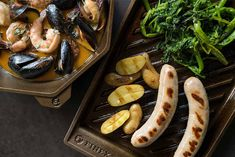 "FINEX Lean Grill Pan brings the sizzle to whatever you're cooking This recipe includes rapini & fingerling potatoes for a spring grilling twist on the traditional ""meat & potatoes"" motif. Veggie Fries, Veggie Stir Fry, Bratwurst Recipes, Great Recipes, Healthy Recipes, Fingerling Potatoes, Roasted Pumpkin Seeds, Cast Iron Recipes, Best Sandwich"