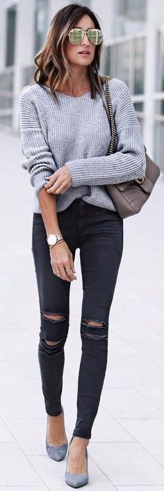 grey cable knit + rips perfect street style