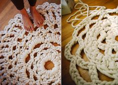 Mega Doily made from a doily pattern and cotton rope!