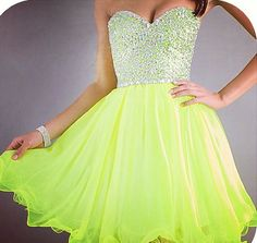 Neon dress, this is really pretty!(: not the biggest fan of that color, but it's still very pretty!!(: