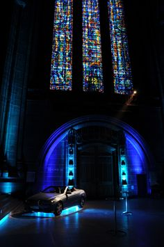 For Everton Football Club's end of season Players' Awards held in Anglican Liverpool Cathedral, we wanted to create a spectacular talking point for the evening as well as integrate product placement into the evening. We placed a car inside the stunning venue ensuring the correct and respectful approach was taken to ensure that no part of the architecture was damaged.  #Event #EvertonFootballClub