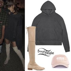 Find out where your favorite celebrities buy their clothes and how you can get their looks for less. Ariana Grande 2016, Ariana Grande Fans, Ariana Grande Outfits 2017, Classy Outfits, Outfits For Teens, Cute Outfits, Cropped Hoodie, Oversized Hoodie Outfit, Hoodie Dress