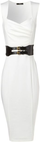 White Sleeveless Dress with Black Patent Leather Belt.