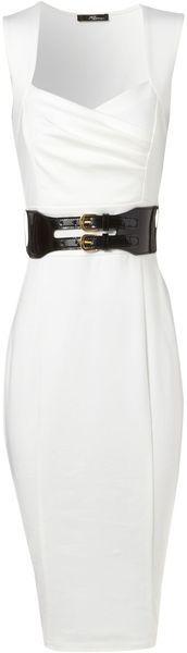 White Sleeveless Dress with Black Patent Leather Belt.