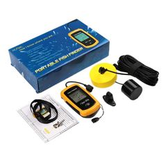 (54.98$)  Know more - http://ait4c.worlditems.win/all/product.php?id=32791657845 - Fishing Portable Sonar Sensor Fish Finder Fiding Alarm LCD Transducer 100m Depth